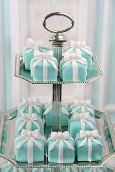 Breakfast at Tiffany's . . . . cute idea for Bridal showers, Baby showers, Lady's Lunch -- change the colors and it's a great idea for a Christmas party too -- endless possibilities