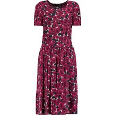 Love Moschino Floral-print crepe dress ($185) ❤ liked on Polyvore featuring dresses, red, red rose dress, purple dress, loose dress, red dress and rose dress