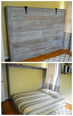 A Murphy bed, also known as a wall bed or pull-down bed, is a hinged bed that can be stored away easily. Pick one of these murphy bed plans to suit you. Cama Murphy, Murphy Bed Ikea, Murphy Bed Plans, Murphy Bed Office, Murphy Bes, Murphy Bed Couch, Murphy Bunk Beds, Build A Murphy Bed, Queen Murphy Bed