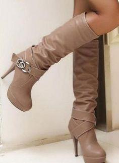 Ladies Fashion Double Strap Buckle High Heel Knee Boots,  Shoes, fashion heel ladies boots, Chic