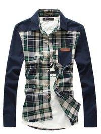 Green Grid Spring New Fashion Long Sleeve Lapel Casual Men Shirt :- http://shirtup.com.au/shirts