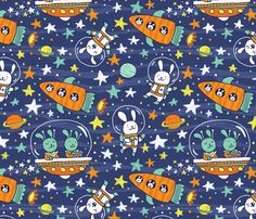 Bunnies in Space fabric by laurenminco on Spoonflower - custom fabric
