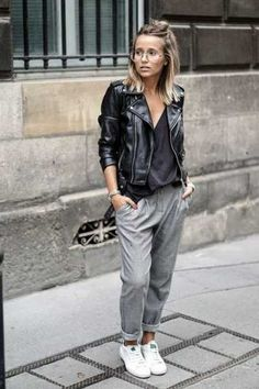 Lazy Day Outfits or How To Look Stylish with Comfy Clothing Combination comfortable grey pants with black moto jacket simple casual comfy outfit Lazy Day Outfits, Mode Outfits, Casual Outfits, Summer Outfits, Winter Outfits, Fashionable Outfits, Party Outfits, Jogger Pants Outfit, Women's Pants