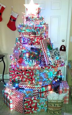 Christmas trees made out of gifts. This was my tree this year