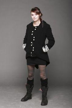 Manteau fantaisie femme noir queue de pie