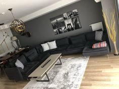 Living room Corner sofa Gray Ikea Decoration with smoked color Carpet Coffee table Table Gray wall Decor, Living Room Decor, Living Room Corner, Grey Corner Sofa, Living Room Carpet, Home, Corner Sofa, Living Room Grey, Living Room Designs