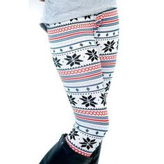 Winter Warm Xmas Snowflake Reindeer Women Printed Leggings