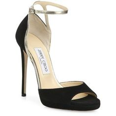 Jimmy Choo Pearl Suede & Metallic Leather Ankle-Strap Sandals