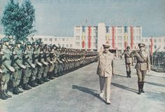 President Nicolae Ceausescu and general Constantin Olteanu reviewing soldiers of the Romanian Army. Communism, Socialism, Romanian People, Socialist State, Warsaw Pact, Central And Eastern Europe, Military Pictures, Soviet Union, Cold War