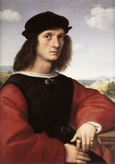 "Raphael (1483-1520) Portrait of Agnolo Doni Oil on wood 1506 63 x 45 cm (24.8"" x 17.72"") Galleria Palatina (Palazzo Pitti) (Florence, Italy)"