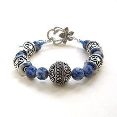 Blue Sodalite and Silver Bracelet