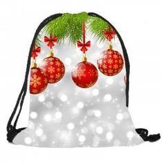 Sac à Dos avec Cordon de Serrage Motif Boules de Noël avec Sac Sucre d'Orge et Cadeaux