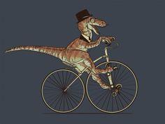 Fancy T-Rex ~ velociraptor dinosaur riding a vintage bicycle ... Good day, sir!