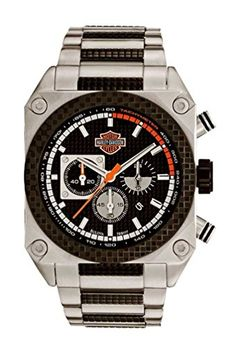 Men's Wrist Watches - HarleyDavidson Mens Bulova Chronograph Wrist Watch Embossed Dial Luminious FoldOver Safety Buckle WR 50m165ft 78B117 -- Be sure to check out this awesome product.
