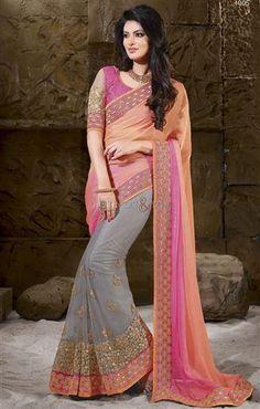 http://www.designersandyou.com/saree-blouse/designer-sarees/half-saree-blouse-designs-boat-neck-blouse-style-lace-sari-indian-dress-1836