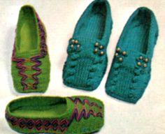 cozy vintage slipper pattern.  love the square toes!   #pattern #knit #crochet