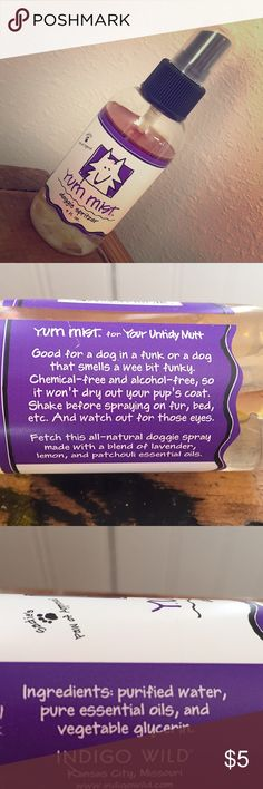 Yum mist doggie spritzer ALL-NATURAL dog spray Shake and spritz! All natural product. It has a blend of lavender, lemon and patchouli. I love their products but I don't think I'm a big fan of patchouli. My loss.  Spray on your pooch after or a bath or whenever they need a little extra 💕 Other