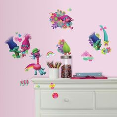 Dreamworks Trolls Movie Peel and Stick Decals by RoomMates, Multicolor