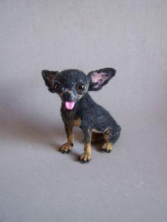 Custom Needle felted realistic chihuahua toy dog by ArteAnRy, €270.00