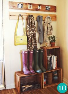 10 Easy and Creative Shelving Organization Ideas for your Home - Love how these crates are used in the entryway of this home!