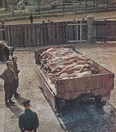 American troops with some of the last victims of Buchenwald camp, where 63,500 or more prisoners died or were killed.