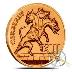 Mares of Diomedes 8th of the 12 Labors of Hercules 1oz .999 BU copper round