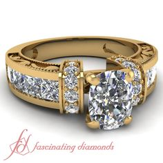 Cushion, Princess Cut and Round Diamonds 14K Yellow Gold Vintage Engagement Ring in Pave Setting || Symphony Ring
