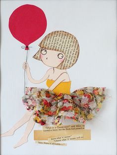 Girl with Bob cut and Red Balloon Original Mixed Media by lazydoll, $29.90