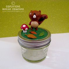 Tabletop Sculpture JAR  Simon the Squirrel by PigAndPumpkin