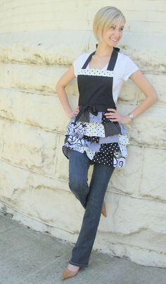 Black & White patchwork womans full apron by overthetopaprons, $36.00