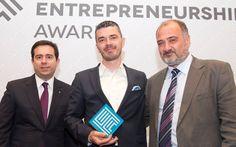 Ελληνικά Βραβεία Επιχειρηματικότητας 2014 - RTSAFE - Από αριστερά, o Υφυπουργός Ανάπτυξης, κ. Νότης Μηταράκης, o κ. Ευάγγελος Παππάς και ο κ. Θωμάς Μαρής στην Τελετή Βράβευσης 2014.