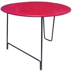 """Mathieu Mategot Rare """"Rigitule"""" Nagasaki Table with Red Top and Black Leg   From a unique collection of antique and modern tables at http://www.1stdibs.com/furniture/tables/tables/"""
