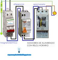 Esquemas eléctricos: Esquema maniobra de alumbrado con reloj horario