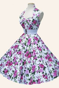 Vivien of Holloway - halter Rosa white swing dress//  white heels & bag  ///  rose jewelry