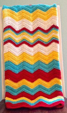 Chevron Baby Blanket Crochet Afghan Crochet Baby by AnniesHookNook