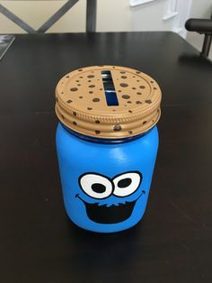 Items similar to Cookie Monster inspired hand painted mason jar piggy bank on Et. - Art - Items similar to Cookie Monster inspired hand painted mason jar piggy bank on Etsy - Mason Jar Projects, Mason Jar Crafts, Mason Jar Diy, Bottle Crafts, Diy Crafts For Girls, Diy Arts And Crafts, Cute Crafts, Diy For Kids, Mason Jar Bank