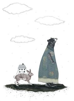 Bear Art Print , Collage Art , Mixed Media Art Reproduction , 8 x 10 Whimsical Art. $20.00, via Etsy.