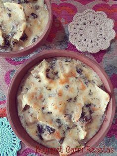 Ravioles/ravioli gratinados con salsa de queso azul de cabra// Crispy Baked Ravioli with Blue Goat Cheese sauce, spinach, mushrooms and coconut milk by Bouquet Garni Recetas