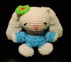 Finally finished my Easter Bunny in time! Thanks to Happy Berry Crochet (https://www.facebook.com/happyberrycrochet) for the original yarn design...it took a few tweaks here and there, so thanks to @[1436468846567658:274:Izzalicious Designs] for her wisdom in loomigurumi techniques! :)