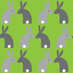Gray bunnies green fabric by celebrindal on Spoonflower - custom fabric