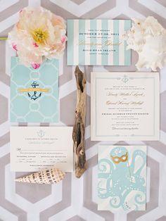 nautical chic wedding paper invitation suite