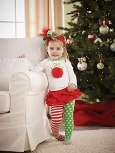 Infant or Toddler Holiday Dresses - Ornament Skirt Set