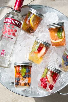 Steep your favorite fruit medley in 1.5oz Smirnoff Raspberry and 3oz Lemon-Lime Soda or Cranberry Juice for an easy and delicious summer cookout DIY treat. Best enjoyed in a Mason Jar.