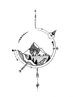 28 Ideas For Travel Drawing Compass Tattoo Designs - Famous Last Words Geometric Compass, Geometric Nature, Natur Tattoos, Kunst Tattoos, Disneyland, Tattoo Sketches, Drawing Sketches, Drawing Ideas, Tattoo Drawings