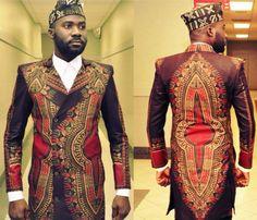 African/Dashiki   men brown long trench coat