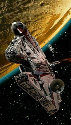 Millennium falcon - Star Wars Ships - Ideas of Star Wars Ships - Star wars ships Star Wars Fan Art, Star Wars Film, Nave Star Wars, Star Wars Poster, Star Trek, Techno Wallpaper, Star Wars Wallpaper, Images Star Wars, Star Wars Pictures