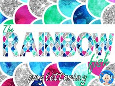 These beautiful letters, numbers and an apostrophe have been inspired by the wonderful book entitled, 'The Rainbow Fish.' Use these letters and numbers for small business or personal purposes. Rainbow Fish, Alphabet And Numbers, Craft Activities, Etsy Store, Banner, Clip Art, Scrapbook, Lettering, Inspired