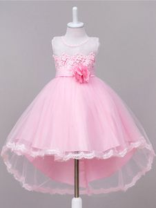 Girls Princess Lace Sleeveless Flower Wedding Dress for Age Flower Girls, Pink Flower Girl Dresses, Wedding Dresses With Flowers, Baby Girl Dresses, Pink Dress, Kid Dresses, Summer Dresses, Kids Pageant Dresses, Ball Gown Dresses