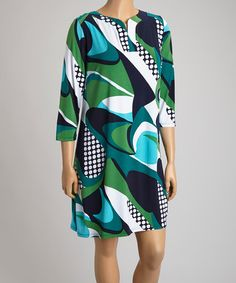 Loving this Navy & Green Abstract Shift Dress - Plus on #zulily! #zulilyfinds