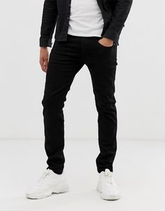Replay Anbass Stretch Slim Fit Jeans In Black Replay Jeans, Skinny Fit, Stretches, Black Jeans, Slim, Mens Fashion, Fitness, Pants, Shopping